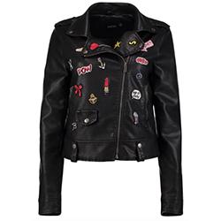 veste biker boohoo à patchs en cuir