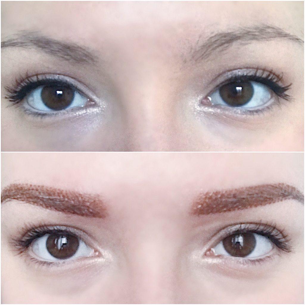 avant-après d'une micropigmentation des sourcils au boudoir du regard